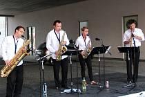 Saxofonový kvartet Harmony Quartet ve složení Otakar Hájek, Zuzana Čajková, Jan Koliha a Lukáš Čajka.
