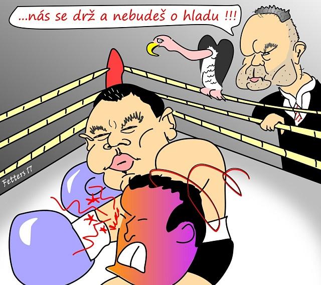 Litoměřický boxer Roman Kracík a Radovan Krejčíř perem karikaturisty Radka Fetterse.