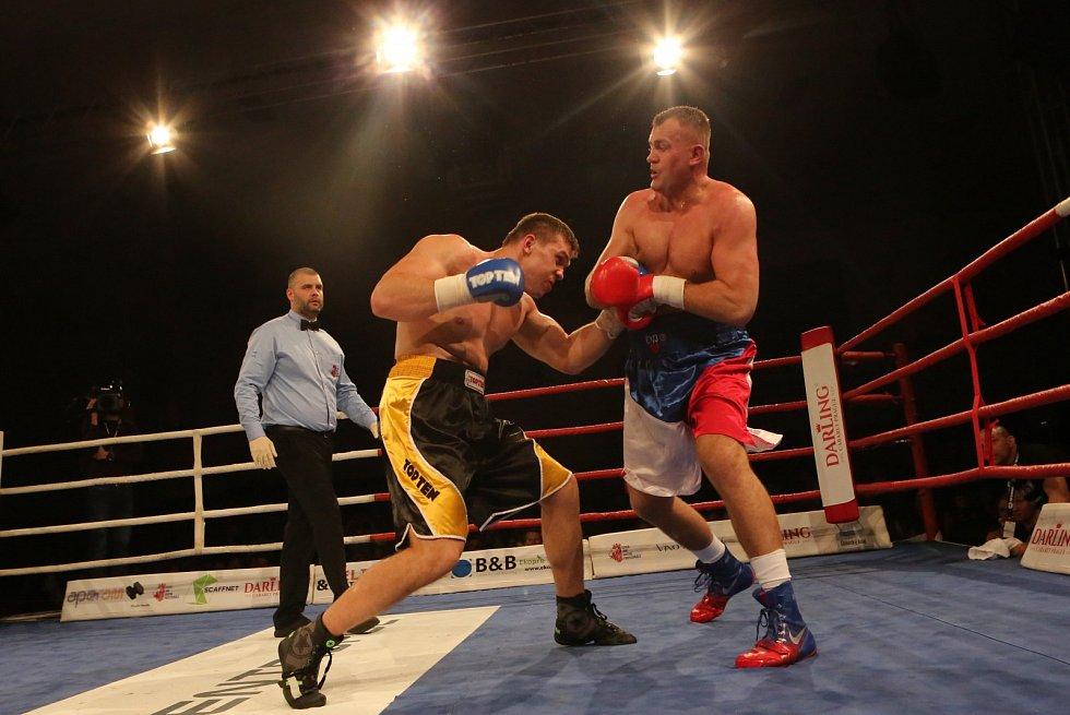 Tomáš Šálek (modré rukavice) v souboji o titul mistra republiky s Pavlem Šourem