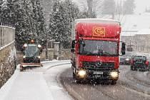 V Libouchci na Ústecku od brzkého rána 1. prosince padal sníh