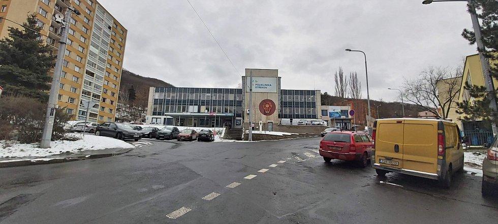Obvod Střekov v Ústí nad Labem. Novosedlické náměstí, zdravotní středisko