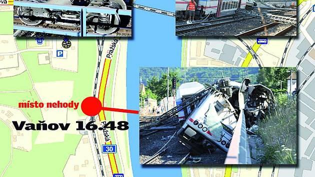 Grafika: Nehoda vlaku ve Vaňově.