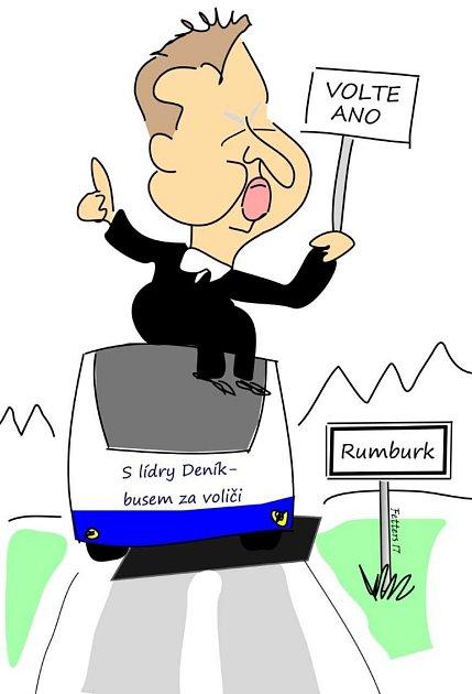 """Takto vautobuse zachytil karikaturista Radek Fetters """"největšího znalce kraje"""", ministra Richarda Brabce (ANO)."""