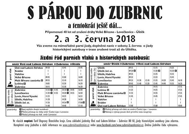 Plakát a jízdní řád akce Spárou do Zubrnic.