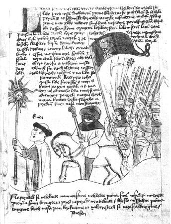 Jan Žižka včele husitského vojska na ilustraci rukopisu z15. století.