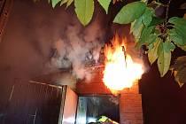 Požár chaty v Chabařovicích.