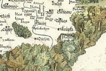 """Z Klaudiánovy mapy zjistíme, že """"Austí"""" patřilo i po husitských válkách ke katolickým městům. Svědčí o tom zkřížené klíče, což byl symbol papežů, vedle jména města. Zatímco třeba Teplice mají vedle sebe namalovaný kalich."""