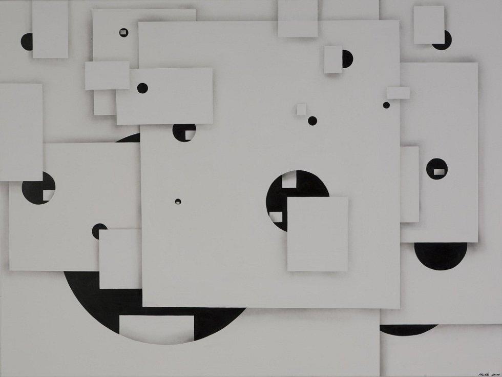 Jan Kaláb, Nekonečno v bílé ploše 2011, 160 x 200cm, akryl, barva ve spreji na plátně.