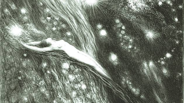Kosmické vize, (1945-46), litografie, 34,2 x 23,5 cm, tužkou - F. Kobliha.