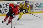 Ústečtí hokejisté (žlutí) doma podlehli Třebíči 0:3.