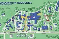 Orientační plán Masarykovy nemocnice v Ústí nad Labem