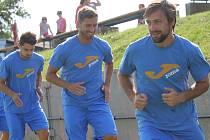 Fotbalisté Ústí nad Labem (zleva Vojtěch Prošek, Daniel Richter, Marek Krátký)