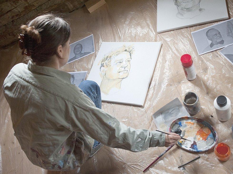 Alžběta Müller namalova portréty devíti výtvarníků.