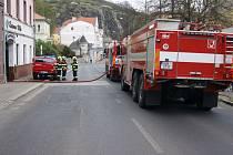 Zásah hasičů v ústecké ulici Velká Hradební