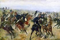 Bitva u Hradce Králové, kde vyhráli Prusové. Zde rakouští husaři útoří na pruské kyrysníky.