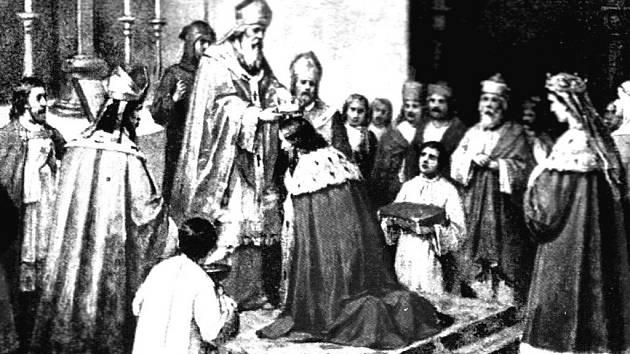 Korunovace Vratislava II. a Svatavy.