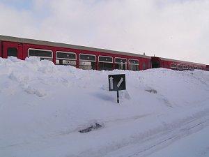 Zima na železnici v Severních Čechách