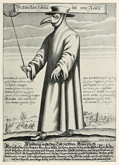 Obrázek morového lékaře zletáku od Paula Fürsta zroku 1656 (rytina).