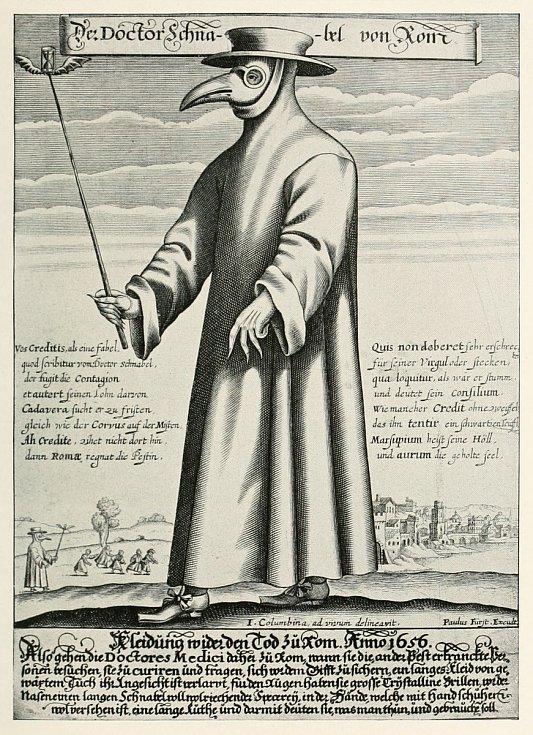 Obrázek morového lékaře z letáku od Paula Fürsta z roku 1656 (rytina).