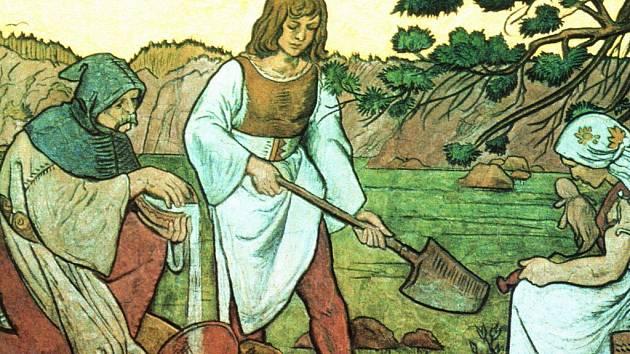 Rýžování zlata na Otavě, sgrafito podle návrhu Mikoláše Alše na píseckém hotelu Otava.