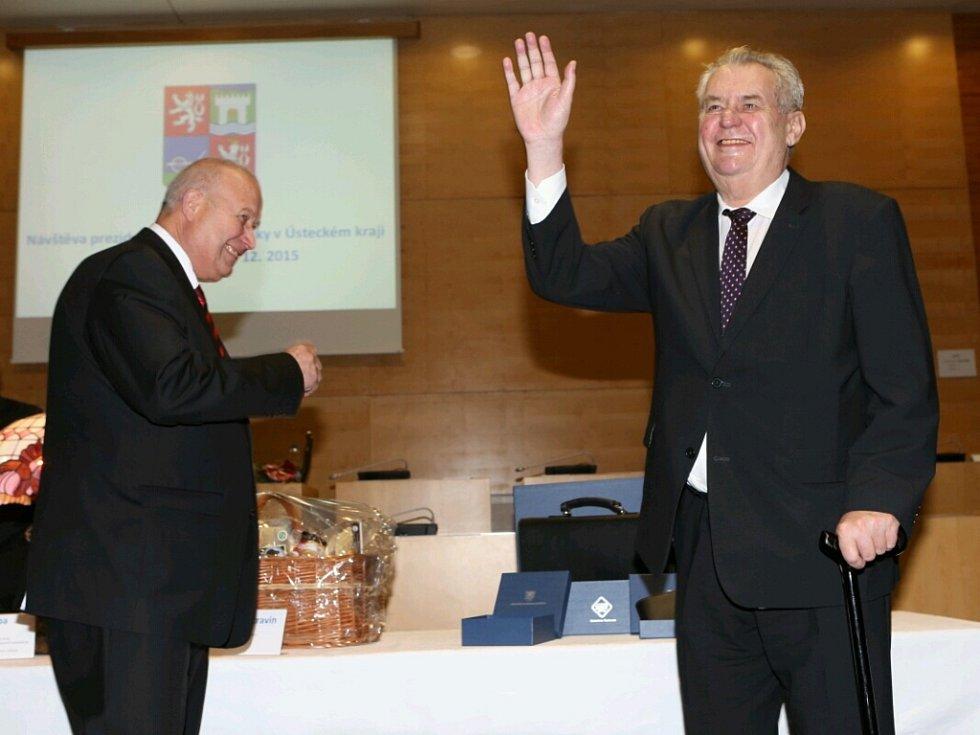 Prezident Miloš Zeman zdraví představitele kraje a vybraných měst.