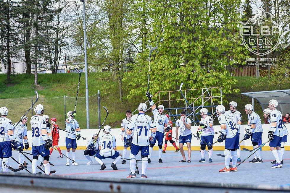 Elba DDM Ústí nad Labem - Hradec Králové, restart hokejbalové extraligy 2020/2021. Hokejbalisté Elba DDM Ústí ilustrační