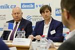 Hejtman Ústeckého kraje Oldřich Bubeníček (vlevo) a šéfredaktor Deníku Vladimír Mayer