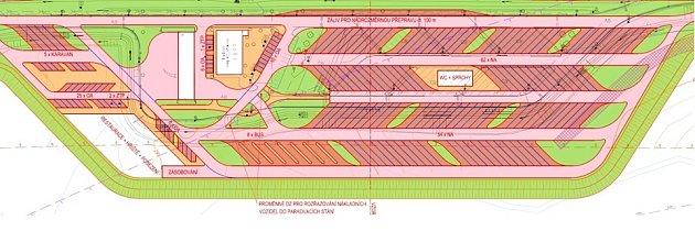 Standardní odpočívka pro kamiony, vtomto případě plánované rozšíření parkoviště ve Varvažově na Chlumecku. To vKoštově bude vypadat podobně.