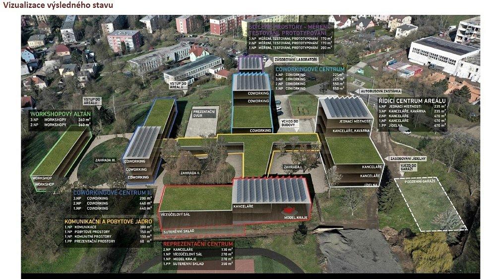 Prozatímní vizualizace Transformačního centra.