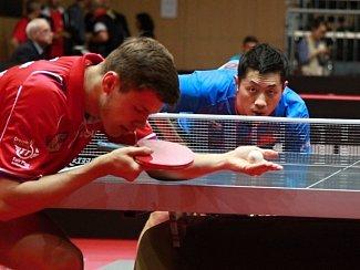 Číňan  Xu Xin, světová trojka, se musel mít na pozoru před osmnáctiletým Čechem Tomášem Polanským.