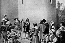 Pražané pod věží naslouchají Daliborově hře na housle.