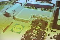Vizualizace nového obchodního centra s prodejnou Lidl, které by mělo vzniknout na ústeckém Střekově