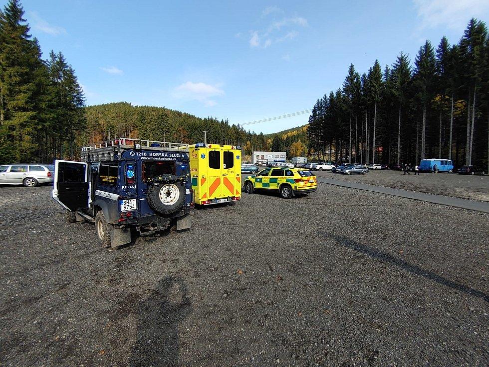 Nehoda v Krušných horách.