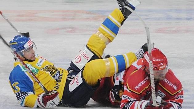 Z hokejového utkání Ústečtí Lvi - Hradec Králové