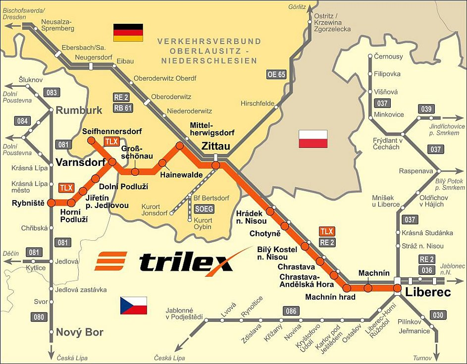 Síť linekTrilexu vede z Liberce přes Hrádek nad Nisou, Žitavu a Varnsdorf do Seifhennersdorfu nebo Rybniště.