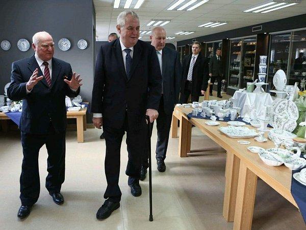 Prezident Miloš Zeman navštívil Český porcelán vDubí.