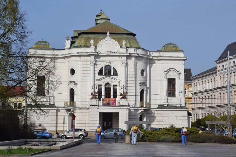 Dezinfikování centra Ústí nad Labem