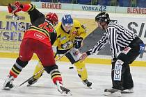 Ústečtí hokejisté doma porazili Hradec Králové 4:3 a už v sobotu se s Olomoucí střetnou o druhou příčku v tabulce.