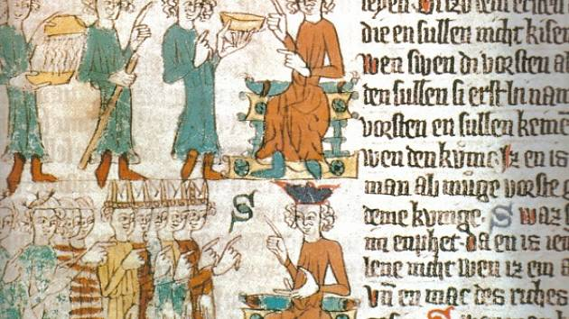 SACHSENSPIEGEL. Saské zrcadlo z roku 1385. Středověký zákoník, přesněji opis magdeburského městského práva, jímž se řídil i městský soud v Ústí.