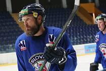 Útočník Michal Trvávníček na tréninku ústeckých hokejistů.