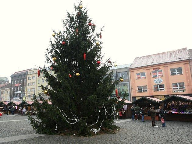 Vánoční strom na Mírovém náměstí.