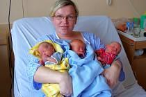 Mamince Lucii Markové se narodili v ústecké porodnici dne 29. 10. 2013 v 9.11 syn Tomáš (43 cm, 2,05 kg), v 9. 12 syn Matyáš (44 cm, 2,06 kg) a v 9.13 hodin syn Jiří (42 cm, 1,78 kg).