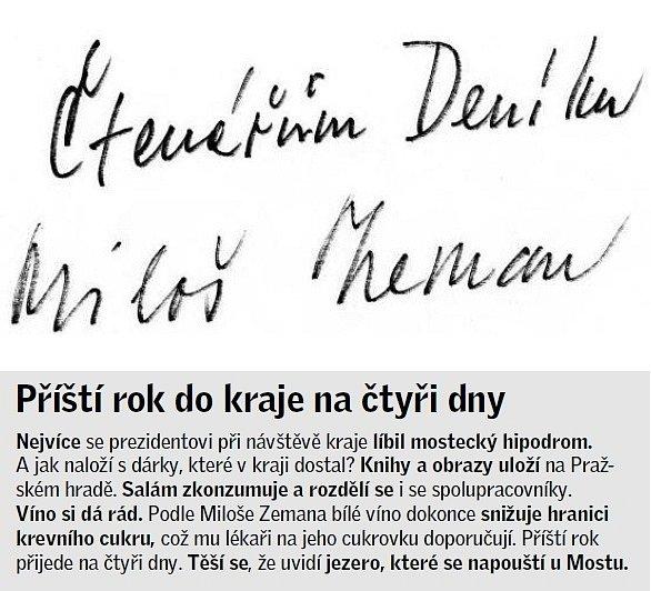 Podpis prezidenta Miloše Zemana.
