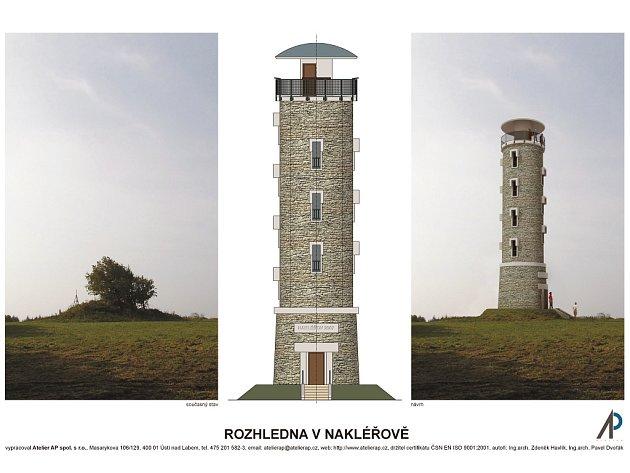 Návrh nové rozhledny na Nakléřově, která by měla připomínat oběti napoleonské bitvy u Chlumce.