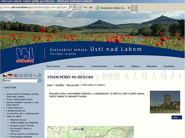 Web města Ústí s fotografií z Litoměřicka.