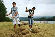 Daniel Soukup a Jiří Slanina shrabávají trávu u Habrovického rybníka. Oba jsou na brigádě jako plavčíci v Brné. Tam je prázdno, tak je vedení městských služeb poslalo sem.