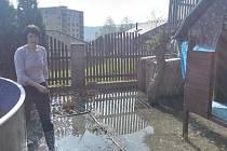 Prasklé potrubí vytopilo rodinám zahrady v Neštěmicích