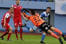 Fotbalový zápas Arma Ústí a Pardubice. FORTUNA:NÁRODNÍ LIGA 2018/2019