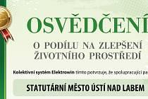 Město Ústí nad Labem získalo Osvědčení o podílu na zlepšení životního prostředí.