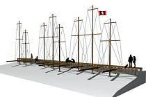 Duchcovskou marinu (na vizualizaci) postaví o víkendu dobrovolníci. Lehká dřevěná stavba by se měla stát vyhledávaným cílem turistů.